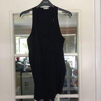 River Island Women Black Quality Long Party Blouse Size 8 UK Very Beautiful