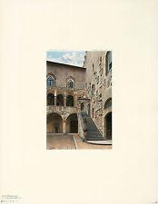 ERNESTO BENSA Antique & Rare 1904 Collotype Litho BARGELLO STAIRCASE, FLORENCE
