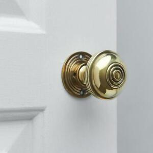 Regency-Style Door Knobs (Pair) - Aged Brass