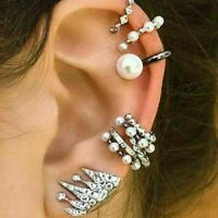 Boho Jewelry 9Pcs/set New Pearl Ear Clip Boho Ear Cuff Stud Crystal Ear Earrings