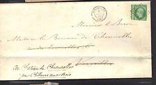 napoleon  n°12 5 ct vert foncé décès baron Brimont à Solférino 1859 lettre cover