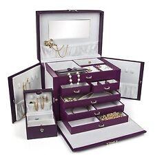 BEAUTIFUL LARGE PURPLE LEATHER JEWELRY BOX With TRAVEL CASE & LOCK