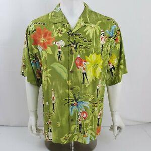 Tommy Bahama Button Front Silk Shirt Camp Hawaiian Christmas Holiday Mens M