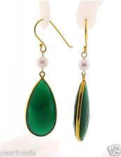 "6-6.5MM Akoya Pearl & Green Agate Earrings, Silver w/Gold Plated, 2.4"" Long, NEW"