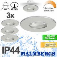 Einbaustrahler Einbauleuchten LED Spot Badezimmer dimmbar 70mm IP44 230V silber