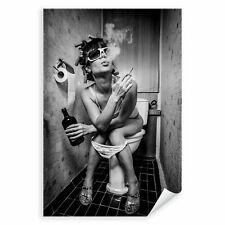 Postereck 3695 Poster Leinwand Party Girl, WC Alkohol Rauchen Schwarz Weiss
