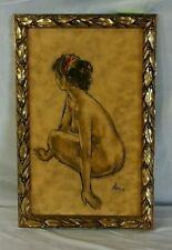 Vintage Female Nude Painting by B. Simon in Gold-tone Frame