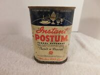 """Vintage Instant Postum """"There's a Reason"""" Cereal Beverage 8oz Tin FREE SHIPPING"""