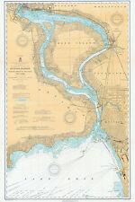 1910 Nautical Map of Niagara River New York LARGE