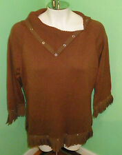 Western Fringe L Womens Brown Sweater Signature Jerell 60% Cotton 40% Rayon