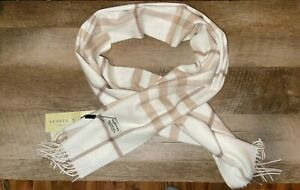 "Authentic Burberry Classic Check Cashmere Scarf White New with Box  66"" x 12"""