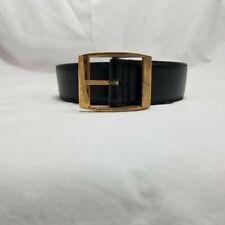 "Black Single Tongue Belt Leather 2050 Metal Buckle 64"" XL"
