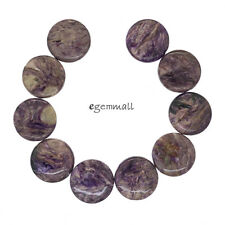 """10 Russian Charoite Flat Round Coin Beads ap. 18mm 7"""" #86241"""