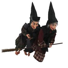 Flying Witch Broomstick Halloween Scary Spooky Hanging Home Decoration Red Brown