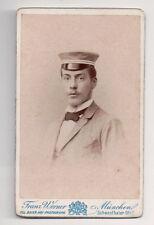 Vintage CDV German Military Man in Uniform Hat Franz Werner Photo Munich