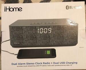 iHome iBT233V2G Bluetooth Dual Alarm Stereo Clock Radio + Dual USB Charging Gray