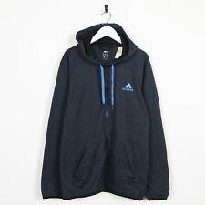 Vintage ADIDAS Small Logo Zip Up Polyester Hoodie Sweatshirt Navy Blue Medium
