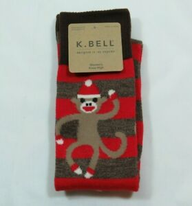 Women's Sock Monkey Dark Brown Marble Stripes Knee High K Bell Socks Size 9-11