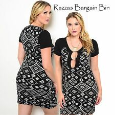New Ladies Sexy Black & White Print Dress Plus Size 16/3XL (9953)NP