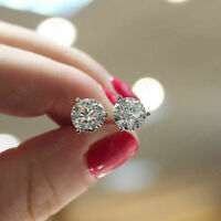 2 CARAT ROUND CUT DIAMOND STUD POST SCREWBACK EARRINGS SOLID 14K WHITE GOLD