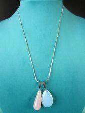 "Lot of 2 Pendants w/ Silver Plated Necklace 18"" Cobra Chain Quartz & Opalite"