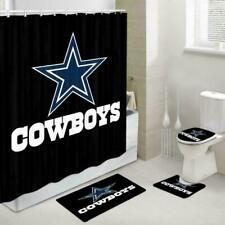 Dallas Cowboys Bathroom Rug Fans Shower Curtain Bath Mat Toilet Lid Cover 4PCS