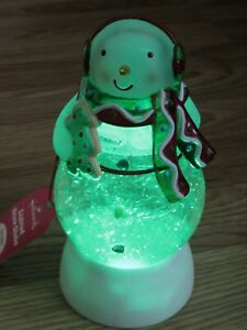 "2010 HALLMARK SNOWMAN Lighted Motion SNOW GLOBE Color Changing Swirls Snow 8"""
