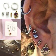 6PCs/Set Women Jewelry Helix Ear Cartilage Cuff Piercing  Punk Stud Earrings Set