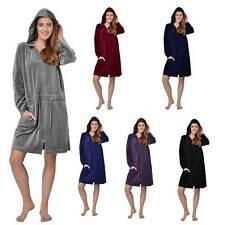 Damen Bademantel mit Reißverschluss Morgenmantel Saunamantel mit Kapuze,Pyjamas.
