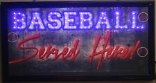 Baseball served led lighted sign here decor picture hanging neon message display