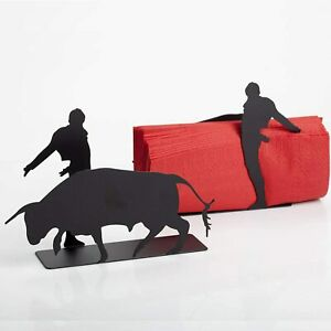 Novelty Black Metal Napkin Serviette Holder Matador & Bull Artori Design Gift