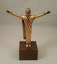 Rare Vintage 1970 SDA Gold Tone Metal Christ the Redeemer Statue Wood Mounted