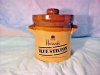 HARRODS CROCK BLUE STILTON FINEST SELECTED CHEESE JAR LONDON ENGLAND CROCK & LID