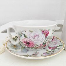 SHABBY VINTAGE CHIC ANTIQUE ROSE FINE CHINA FLORAL TEA CUP & SAUCER GIFT BOX SET