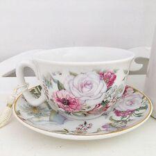 Shabby Chic Vintage Antico Rose Floreale Fine Cina tè Coppa & Piattino Gift Box Set