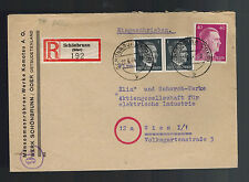 1944 Schonbrunn Germany Registered Cover to Vienna Commercial