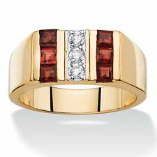 MENS 1.45 TCW RED GARNET 14K GOLD SQUARE CUT GP RING SIZE 8 9 10 11 12 13