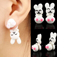 Fashion Women Cartoon Earrings Polymer Clay Cartoon Bunny Handstand Jewelry Gift