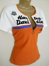 HARLEY DAVIDSON 1/4 Zip Stretch T-Shirt Top Orange & off White Large