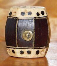 Antique Chinese Wood & Bone Toggle, Drum Design, 19th Century