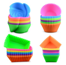 48Pcs Reusable Silicone Molds Baking Cups Cupcake Liners BPA Free Food Grade