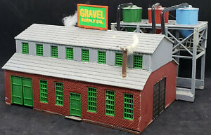 Gravel Supply HO Scale Company. Factory, Warehouse vintage brick building BIG