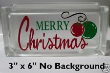 Cute Merry Christmas with ornaments Decal Sticker for Glass Block DIY Crafts