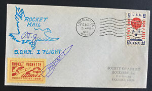 1960 Lincolnville ME USA Soar Rocket First Flight Airmail Cover To Holyoke