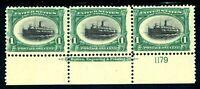 USAstamps Unused FVF US Pan-American Fast Nav Scott 294 Plate # Strip OG MNH MLH