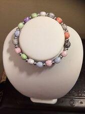 Monkey Multicolor Silver Beads Stretch Bracelet