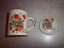 "Strawberry ~ Wild Country ~ Coffee Tea Mug with Lid 3 1/2"""
