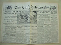 DAILY TELEGRAPH WWII NEWSPAPER JUNE 19th 1940 CHURCHILL - OUR FINEST HOUR