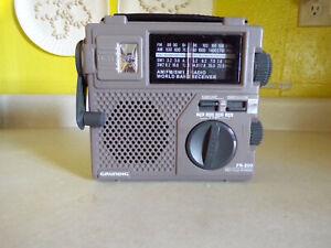 Grundig FR-200 Emergency Short Wave Radio AM FM Hand Crank World Band Receiver