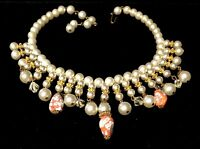 "Rare Vtg 16"" Unsigned Miriam Haskell Gilt Pearl Crystal Art Glass Bib Necklace"